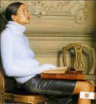 Теплый вязаный свитер с воротником стойкой спицы