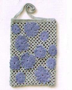 Вязаная сумка сетка крючком с цветами