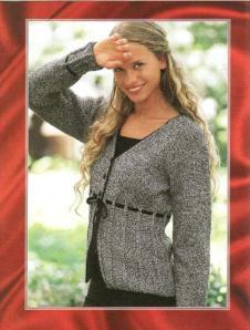 элегантный серо-черный вязаный жакет для женщин спицами