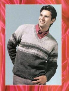 классический мужской свитер спицами с v-образным вырезом