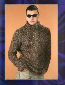 мужской меланжевый вязаный свитер спицами с воротником стойкой